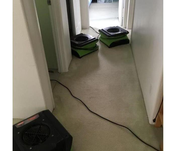 hallway with dry carpet and SERVPRO fans placed