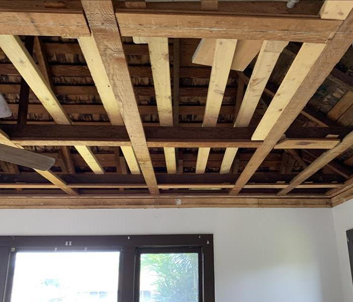 bare wooden frame in ceiling